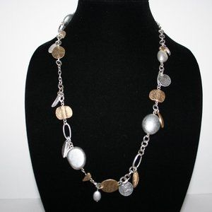 "32"" long silver and gold necklace"